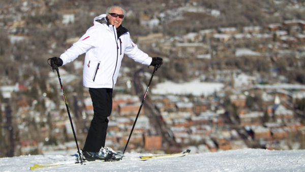 Klaus Obermeyer skiing on Aspen Mountain