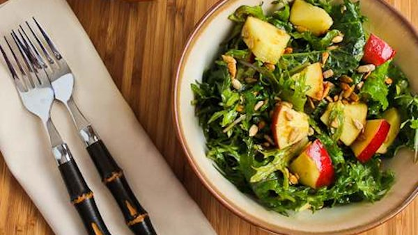 Vegan Recipe: Raw Baby Kale Salad with Apples, Sunflower Seeds, and Lemon-Dijon Vinaigrette