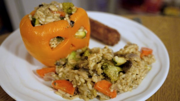Vegan Recipe: Risotto Stuffed Pepper Lanterns