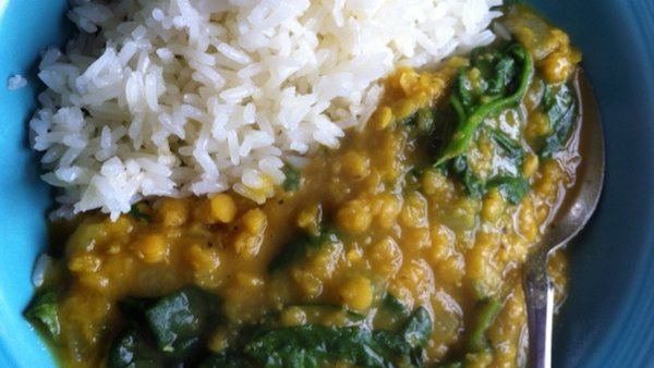 Vegan Recipe: Lentil Dal with Spinach