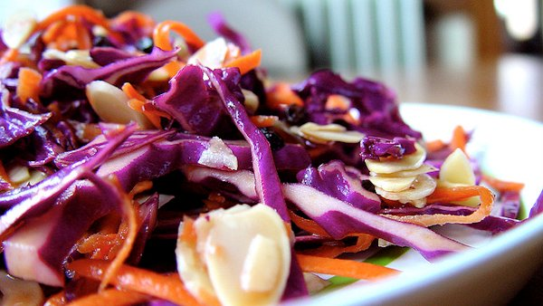 Vegan Recipe: Indonesian Cabbage Salad with Red Curry Almond Sauce