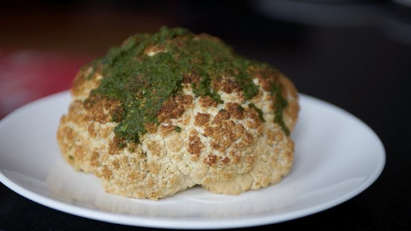 whole roasted cauliflower with pesto