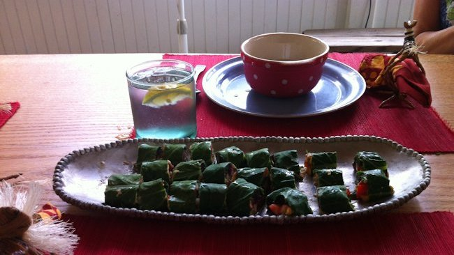 vegan collard sushi