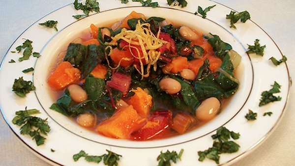 Vegan Recipe: Sweet Potato Soup with Cannelini Beans & Rainbow Chard