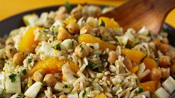 Vegan Recipe: Rice Salad with Fennel, Orange and Chickpeas