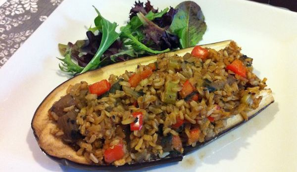 Vegan Dinner Recipe: Stuffed Eggplant