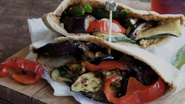 Hummus Stuffed Pita With Roasted Vegetables Recipes — Dishmaps