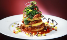 This is the polenta Napoleon at the Walnut Grille, a new restaurant in Newton that features vegetarian, vegan and gluten-free items. Dina Rudick/Boston Globe Staff