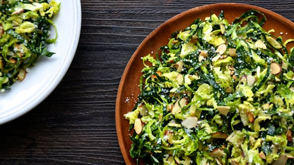 Vegan Recipe: Shredded Kale and Brussels Sprout Salad with Lemon Dressing