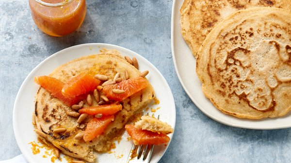 Vegan Recipe: Pancakes with Orange Moscato Syrup and Pine Nuts