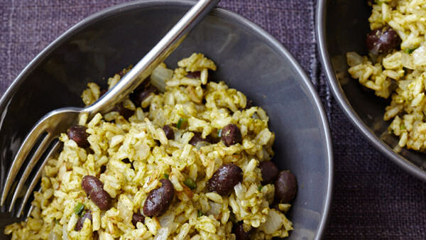 Vegan Recipe: Green Chile Rice with Black Beans