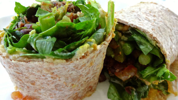 Vegan Lunch Recipe: Salad Wraps with Beans and Greens