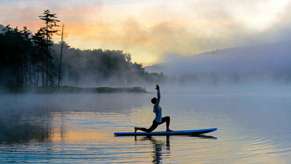 SUP yoga, Snowshoe Mountain, West Virginia, USA