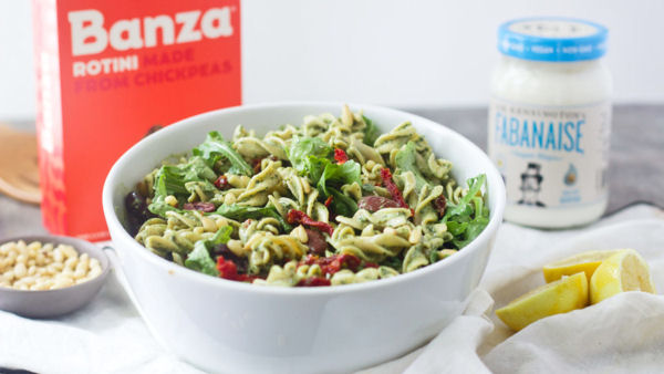 Vegan Recipe: Pesto Pasta Salad with Fabanaise