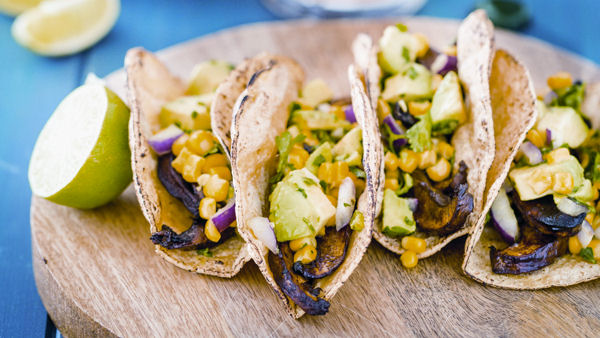 Vegan Recipe: Beer-Marinated Portobello Tacos with Avocado Corn Salsa