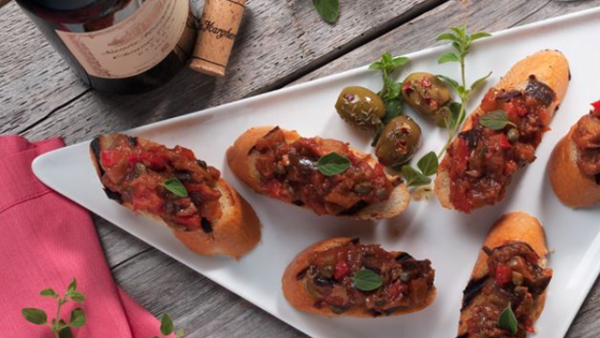Vegan Appetizer Recipe: Eggplant Caponata with Crostini