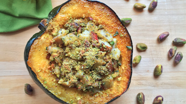 Vegan Recipe: Baked Acorn Squash with Pistachios, Pears & Fresh Herbs
