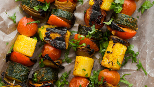 Curried Vegetable Polenta Kabob