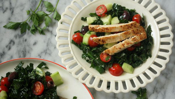 Vegan Recipe: Kale Greek Salad with Chick'n