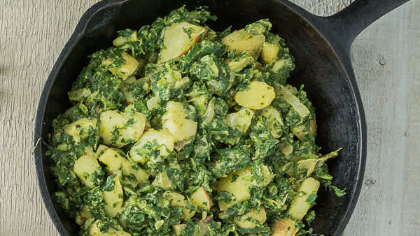 Vegan Recipe: Potatoes and Spinach