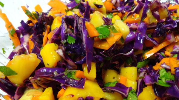 Vegan Recipe: Red Cabbage and Mango Slaw